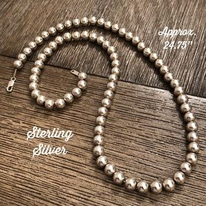 """Vintage Sterling Silver 7mm Beaded Necklace 24.75"""""""